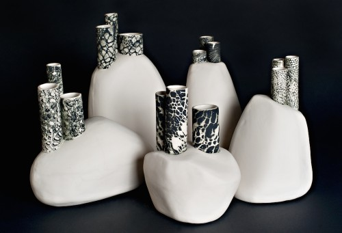 5 sculptural vases
